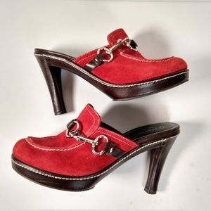 Coach Italy red suede heeled clogs 8